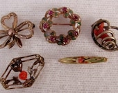 Vintage set of 5 Scatter Pins - Rhinestone wreath, Enameled and 14K iris, Celluloid rose, Coral knot, Simmons Watch Pin, C clasp on 3 pins