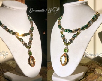 Emerald & Amber Forest Sprite Necklace ~ with warm glittering beads, golden filigree and glass crystals!  One-of-a-kind, ready to ship.