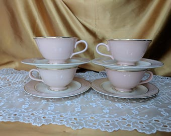 Vintage Tea cups and Saucers 4 sets Shadows by Taylor, Smith & Taylor Tea Party Wedding shabby chic *eb