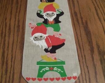 "Scandinavian Wall Hanging Burlap Decorative Traditional Swedish Folk Art Design with Pixies Elves Bell 7"" x 30"" Vintage Holiday Decor"