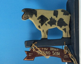 Vintage Wood Cow Sign Plaque, Milk Wall Decor,  Country Decor, Wall Hanging, Farmhouse Decor, Cow, Milk, Sign, 1980s, Milk Sign