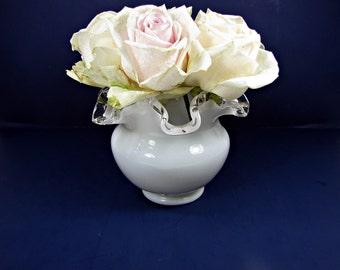 Vintage FENTON SiLVER CREST VASE Rose Bowl Ruffled Crimped Milk Glass Flower Floral