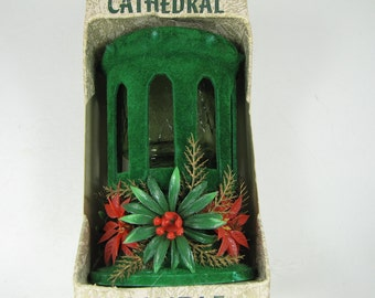 Vintage CHRISTMAS CATHEDRAL CANDLE Green Flocked w/ Poinsettias Retro Holiday Never Used!