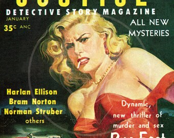 Crime and Justice  (Jan 57) - 10x14 Giclée Canvas Print of a Vintage Pulp Detective Magazine Cover