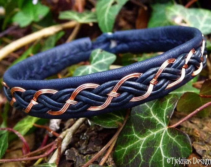 Nordic Viking Cuff DRAUPNIR Copper Braid Sami Bracelet in Navy Blue Leather - Custom Handmade Norse Folklore Unisex Jewelry