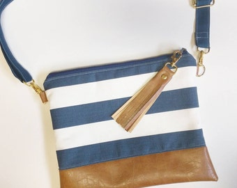 Navy and white striped hipster and brown faux leather