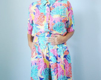 Vintage SK & Company Rayon Colorful Tropical Pattern Jumper, Womens size Small / ITEM605