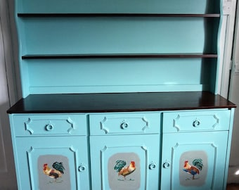 Light Teal Welsh dresser with five hand painted cockerels.