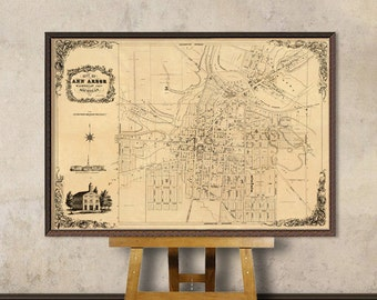 Ann Arbor map - Old city plan - Fine reproduction