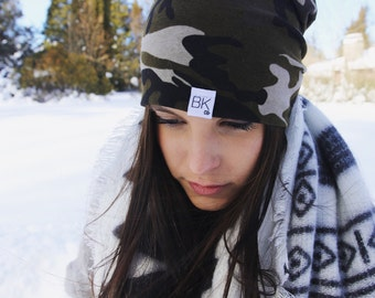 Camo Slouch Beanie/ Baby -Adult sizes/ Hipster Beanie/ Slouchy beanie/ Slouchy Hat/ Women's Slouch Beanie /Baby Hat/ Beanie/ Toque