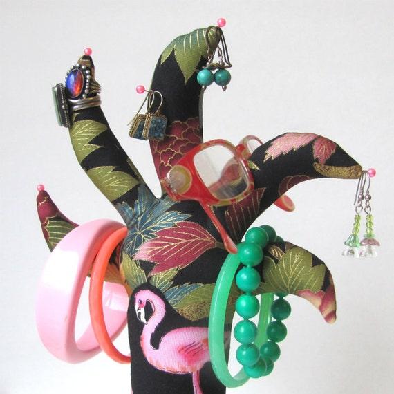 OOAK Flamingo Fabric Glasses Jewelry Palm TREE-Stand Ready to Ship