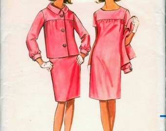 Chic Vintage 1960s Butterick 4341 Yoked Short Sleeve Slim Shift Dress and Jacket Sewing Pattern B32