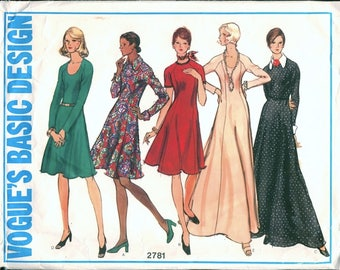 Half Size Vintage 1970s Vogue Basic Design 2781 Knit or Woven Flared Maxi or Regular Length Dress with Raglan Sleeves Sewing Pattern B41
