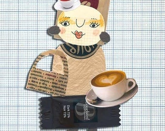 Coffee Lady - postcard with one of my Paper Ladies