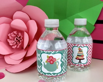 Tea Party Water Bottle Label Digital Download Pink Aqua Flowers Cake Birthday Bridal Shower