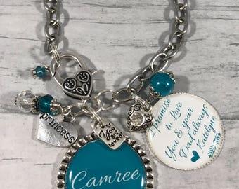 PERSONALIZED Daughter Gift. Daughter Bracelet. Daughter of the Groom Gift. Wedding Bracelet. Adoption Gift. Stepdaughter Gift. Princess