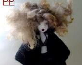 """felt doll number 336 """"How much longer"""" french handmade doll"""