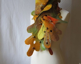 "SALE! ""Magic tree"", yellow, orange brown and olive green woolen art scarf, one-of-a-kind hand felted unique and whimsical felt garment"