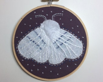 White Moth - Maroon - Felt Wall Art in Embroidery Hoop