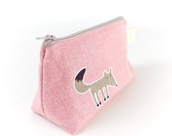 Small Cosmetic Pouch with Fox and Squirrel Animal Bag Cute Makeup Bag Fox Bag Gift for Her