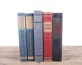 Vintage 1930s-40s Literature Books / Decorative Books / Vintage Mixed Book Set / Old Blue Red Books / Books by Color /School Books for Decor