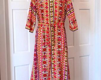 Vintage 60s crazy colorful womens zip front tir dress - floral pattern - Robert Rosenfeld