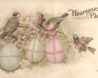 Pretty Birds with Easter Eggs & Lilacs Antique French Postcard Chromo Post Card from Vintage Paper Attic