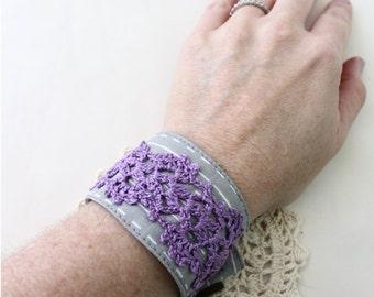 Purple Bracelet - Crochet Bracelet - Crochet Cuff - Crochet Cuff Bracelet - Vegan Bracelet - Vegan Jewelry - Fabric Cuff Bracelet  - Boho