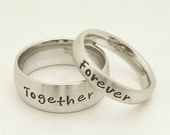 Couples Engraved rings, Couples Rings, His & Her Ring set, Couples Personalized Rings, Wedding rings, Custom Wedding rings, Couples rings