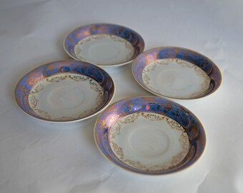 Set of Four Vintage Lusterware Saucers Made in Japan
