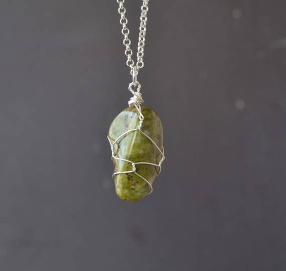 Mens Stone Necklace, Epidote Necklace, Wire Wrapped Epidote, Epidote Jewelry, Green Stone, Epidpte, Green Stone, Epdote Stone Necklace