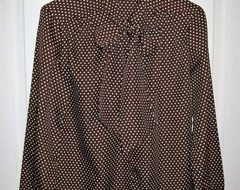 Vintage 1970s Ladies Brown & White Polka Dot Secretary Blouse Laura Mae Large Only 7 USD