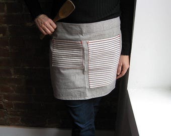 Waist Apron Cafe style in Railroad Stripe Denim with Contrast Red Stitching 2 Pockets, Mother's Day