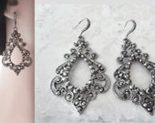 Large crystal earrings, Black crystal earrings, Black statement earrings, Beautifully detailed, Victorian, Gothic wedding, Hematite, EXOTIC