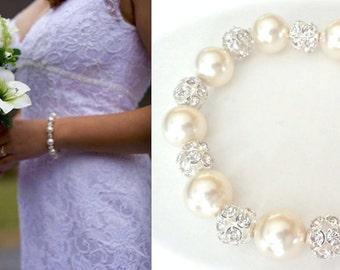 Chunky pearl bracelet - Bridal jewelry - Statement bracelet - Swarovski pearls and crystals - LARGE fireballs - Brides bracelet - LOLITA