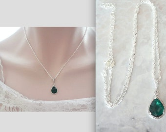 Emerald necklace, Czech glass, Sterling, May birthstone, Irish wedding necklace, Emerald wedding jewelry,Bridesmaids necklace,Best seller