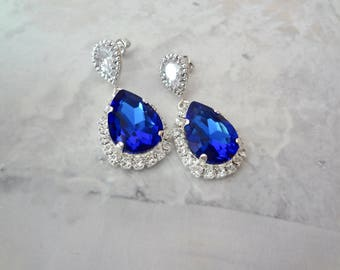 Sapphire crystal earrings, Swarovski Crystal earrings, Halo crystal earrings, Brides earrings, Something blue, Wedding earrings, SOPHIA