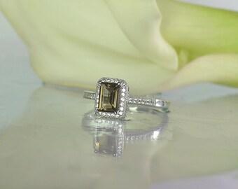 Black Engagement Ring, Emerald Cut Ring, Halo Ring, Halo Gemstone Ring, Quartz Ring, Emerald Cut Halo Ring, Unique Gemstone Ring