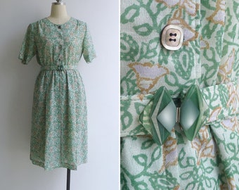 Vintage 80's 'Bluebell Floral' Green Woodblock Print Dress with Belt M