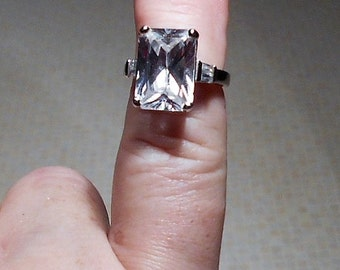 Large Cubic Zirconium RING, Vintage Sterling Ring, Size 5.5.  Only 39.00