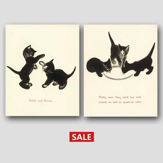 "Cat Kitchen Wall Art (Cat Gifts Set, Vintage Cat Decor Sale) --- ""Playful Kittens & Suppertime"""
