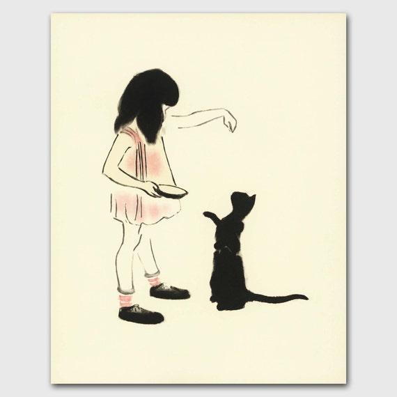 "Cat Mom, Cat Art (Vintage Cat Kitchen Print, Baby Room Decor) --- ""Hand Fed Cat"""