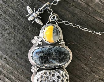 Sterling silver bee necklace, bumbleebee jasper necklace, new lander turquoise necklace, artisan necklace, hello sunshine