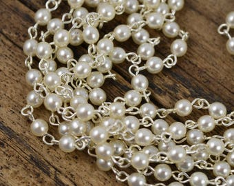 Pearl Chain - 4mm White Pearl on Silver Link - Czech Glass Pearls - 3 Feet