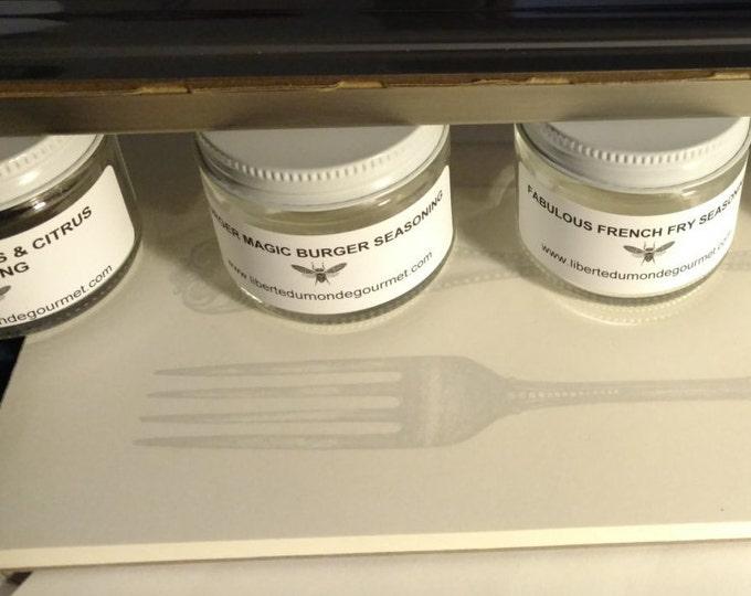 5 Jar Seasonings Set with Magnetic Holder