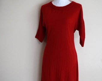 salvation armani vintage sweater dress - red sweater dress - vintage calvin klein - red color block sweater dress - vintage size small