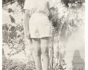"Vintage Photo ""She Wears Short Shorts"" Pretty Girl Long Legs Black & White Found Vernacular Photo"