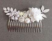 Bridal Hair Comb Silver White Wedding Headpiece Victorian The Great Gatsby Art Deco Wedding Hair Adornment Woodland Rustic Big Flower Comb