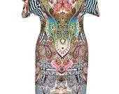 Cotton Jersey Dress, Plus Size Dress, Paisley Print, V Neck Dress, Boho Dress, Summer Dress, Bat Sleeve Dress, Designers Dress