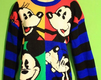 Vintage Rare 80s Adult Mickey Mouse Sweater Womens Mens Unisex Hipster Novelty Small Medium